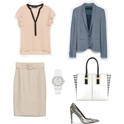 Blouses, skirt, jacket Zara Shoes Mango Bag Aldo Watch Swatch