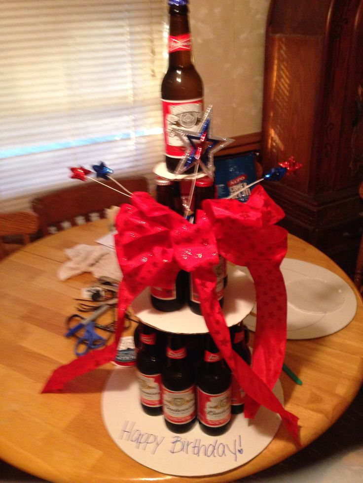 beer cake i made out of beer bottles gift things pinterest