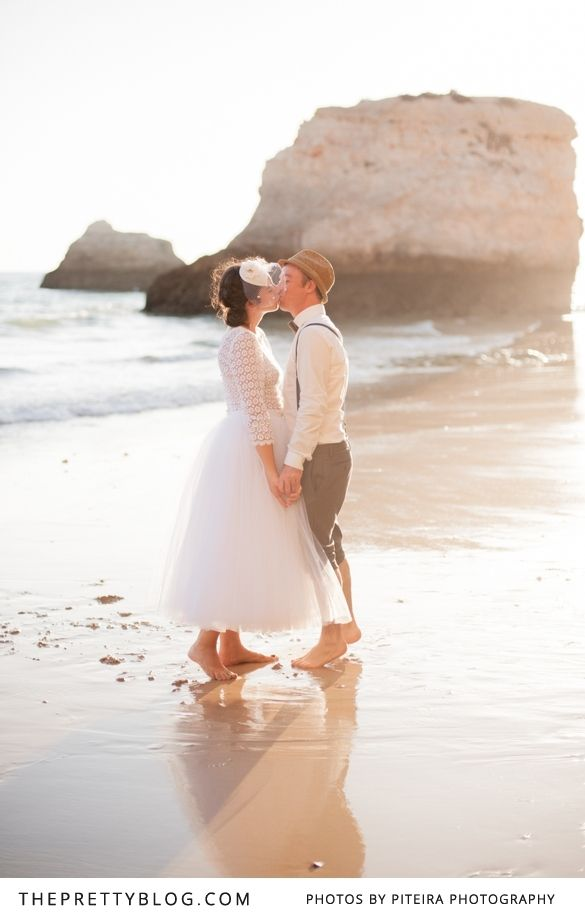 Romantic sunset beach couple shoot   Photographers: Piteira Photography, Wedding Dress: Carmelita Pelita