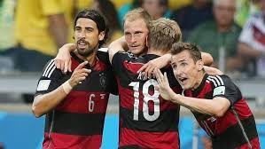 Sami Khedira, Benedikt Höwedes, Toni Kroos and Miro Klose celebrating. Haha, it kinda looks like Miro and Sami are apologising for winning :D