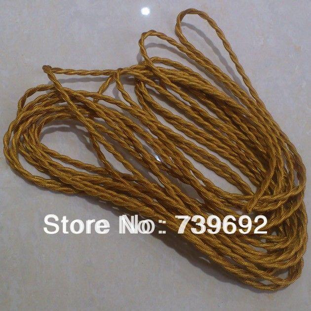 2 м/лот Специальный Old Antique Стиль2*0.75 мм 2-жильный Витой 1 м Света золото Витая Плетеный Ткань Покрыта кабель электрического освещения