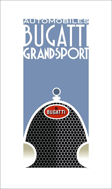 Art Deco Bugatti poster by Bill Philpot at newvintageposters.com