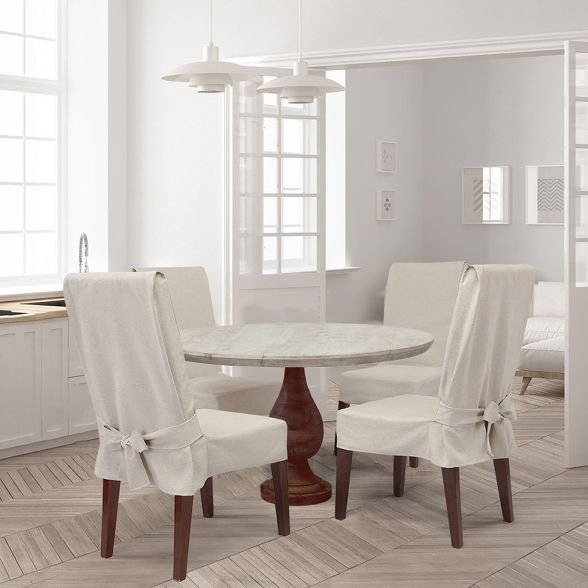 Farmhouse Basketweave Dining Room Chair Slipcover Oatmeal Sure Fit Sillas Funda Sillas Comedor Fundas Sillas