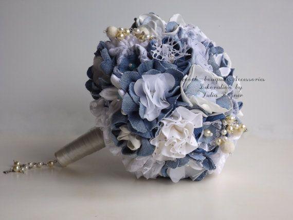 Denim wedding bouquet by unusualbouquets on Etsy, $150.00