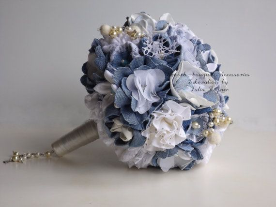 Denim wedding bouquet, elegant with touches of lace.