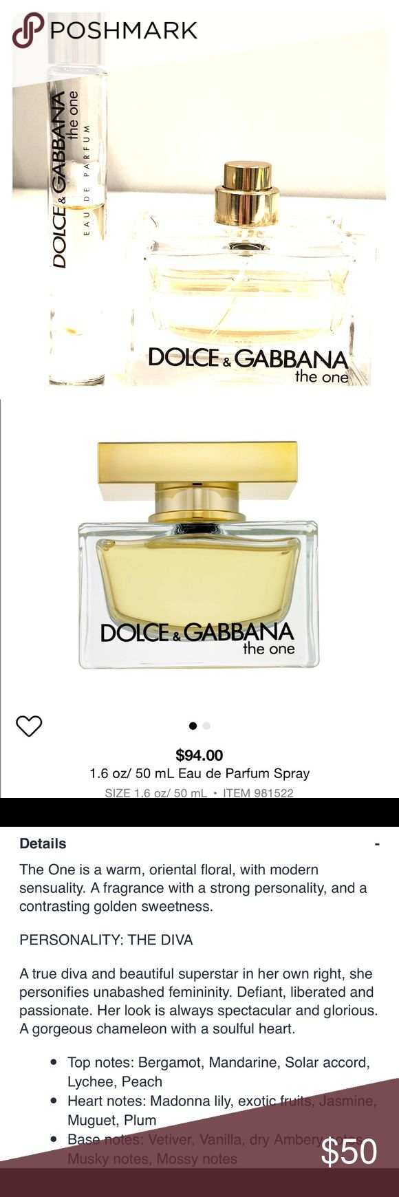 Dolce and Gabbana The One Eau de Parfum bundle More than half of 1.6oz bottle of The One by Dolce and Gabbana PLUS half vial of rollerball. 100% genuine. Perfume bottle is missing the cap.  This is a gorgeous and classy fragrance and priced to sell!! Reg price is $94 + $29. Dolce & Gabbana Other
