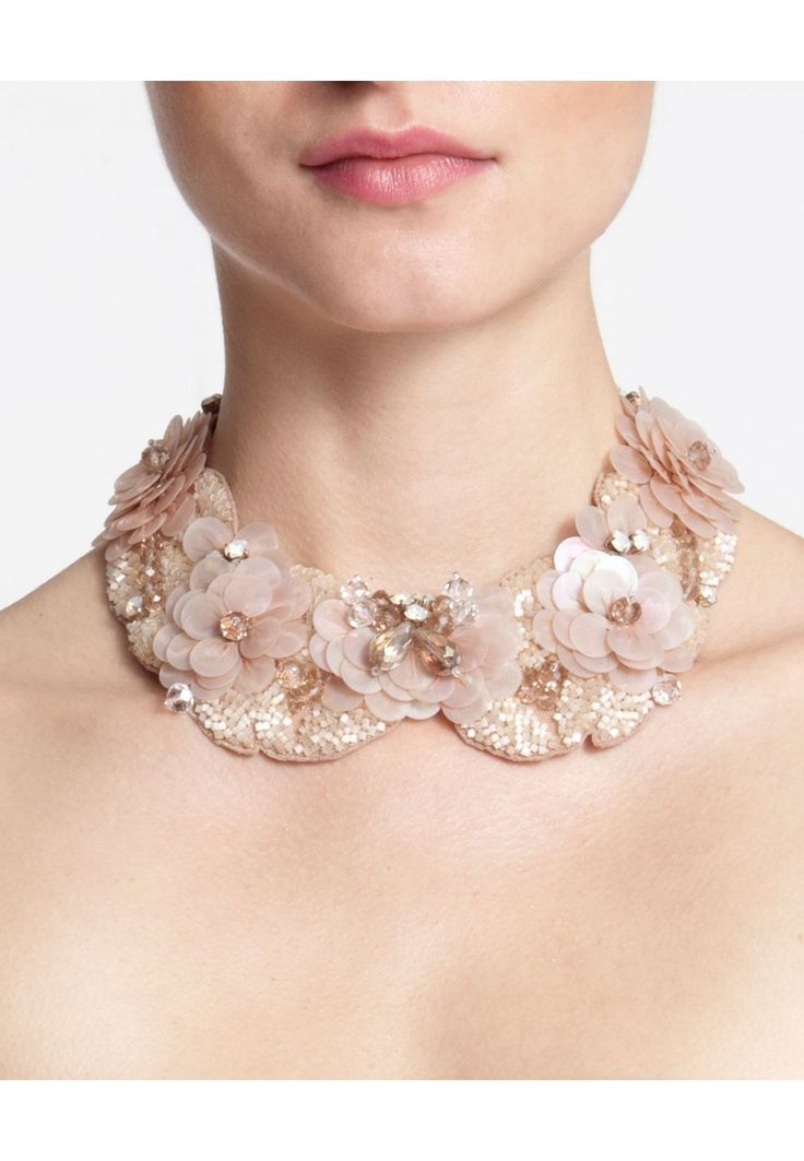 Glass and Gemstone Floral Collar: Rose | Anne Fontaine