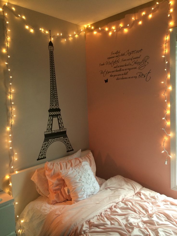 String lights in bedroom room ideas pinterest bedrooms string lights and lights for Young woman bedroom and string lights