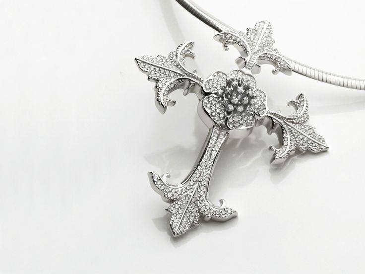Pingente Cruz em Ouro Branco 18k com Diamantes - COLECAO ARTE HERALDICA - LINHA FLOR DE LIS.jpg (1024×768)