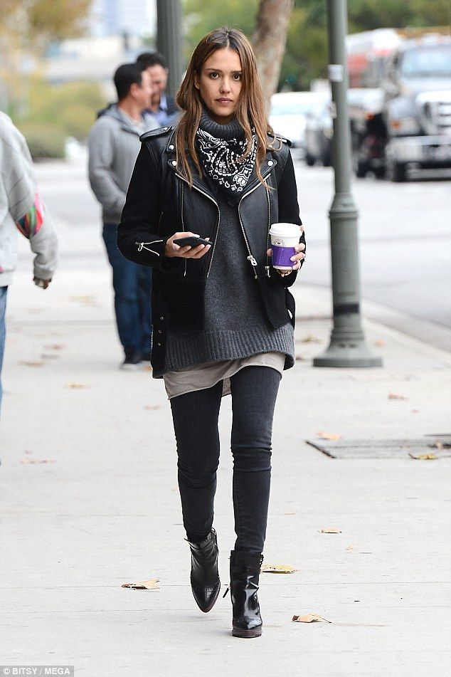 Biker babe: Jessica Alba, 35, looked stylish as she picked up a coffee from the Mediterranean Cafe in Santa Monica on Tuesday - proving she was back at work following her Hawaiian getaway