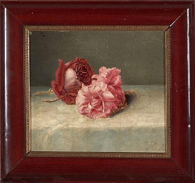 HERMANIA NEERGAARD DANSK 1799 - 1875  Roser Olje på plate, 19x20,5 cm Initialsignert nede til høyre: H. N.