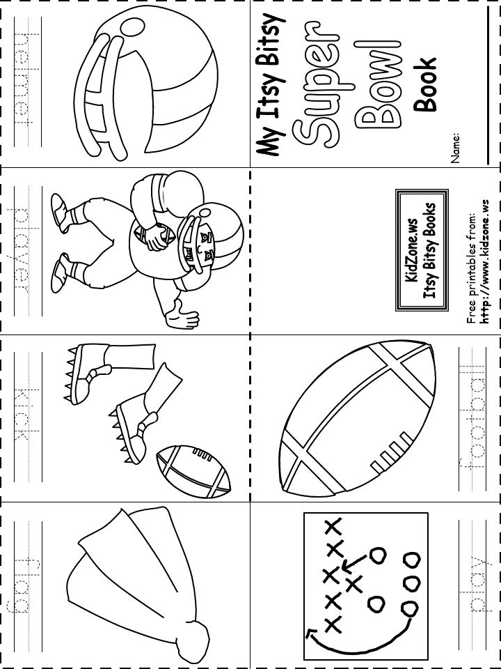 Itsy Bitsy Book - Super Bowl Book -- Keep your preschool and early elementary kids entertained for a bit with this cute book to color and write.