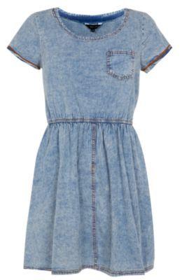 Blue Denim Cap Sleeve Skater Dress New Look £22.99