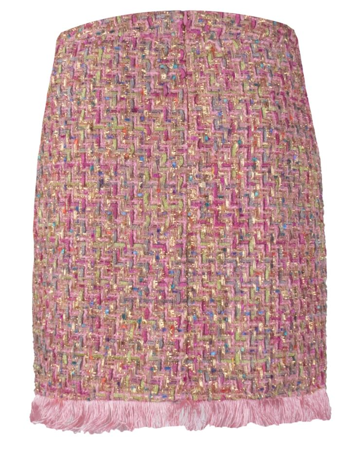 Goldie Estelle Cuba Rok - Roze tweed rok met veren effect