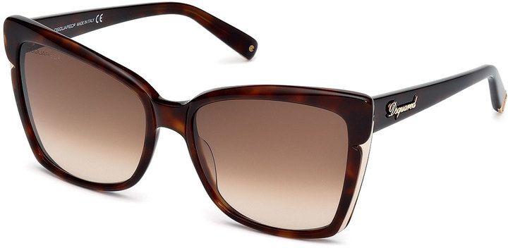 Dsquared2 Metal-Trim Square Plastic Sunglasses, Dark Havana - $69.50