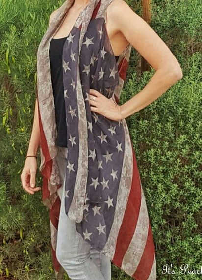 Patriotic Distressed American Flag Cardigan Sleeveless Vest. Semi sheer vest is the perfect accessory. Great for Memorial Day Weekend ☆ 4th of July ☆ or Election Day. Can also be worn as a scarf. (ves