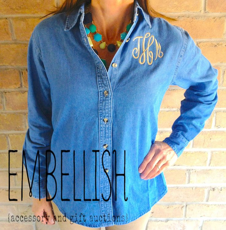 Monogrammed Ladies Denim Shirt XS to 4XL Embellish Accessories and Gifts San Antonio, Texas