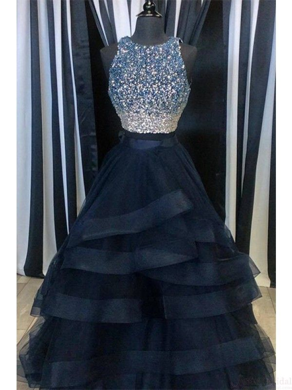 A Line Beading Bodice Layers Long Prom Dresses Evening Dresses #SIMIBridal #prom…