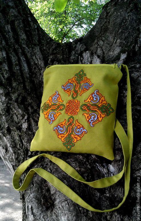 Купить Льняная сумка на молнии - оливковый, лес, лен, русские узоры, русская гладь