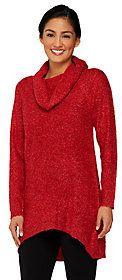 Denim & Co. Boucle Cowl Neck Sweater w/ Hi-Low Hem