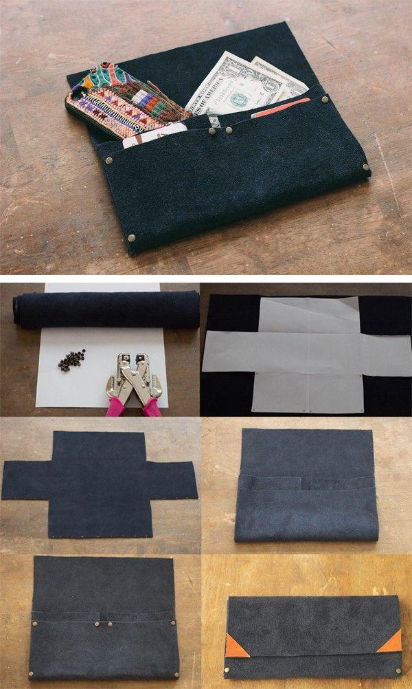 Những cách làm túi ví hay ho chẳng cần may vá 3