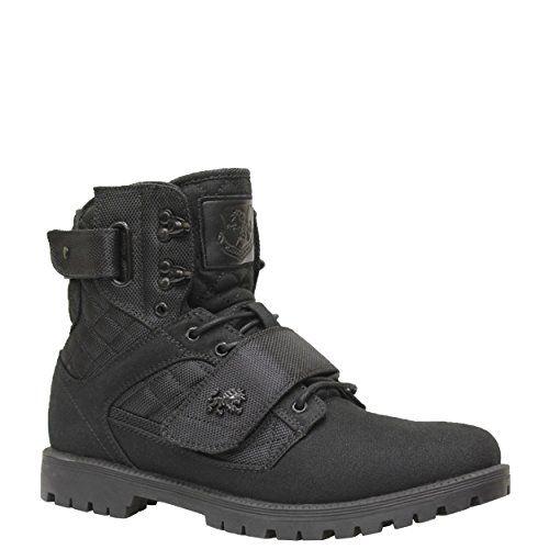 TOMSLenox Leather - Lenox Hombres, Negro (Negro, Lienzo Negro), 8,5 D(M) US