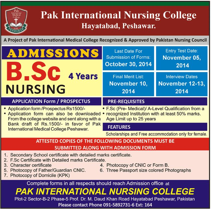 Admission for BSc Nursing in Pak International Medical College - admission form school