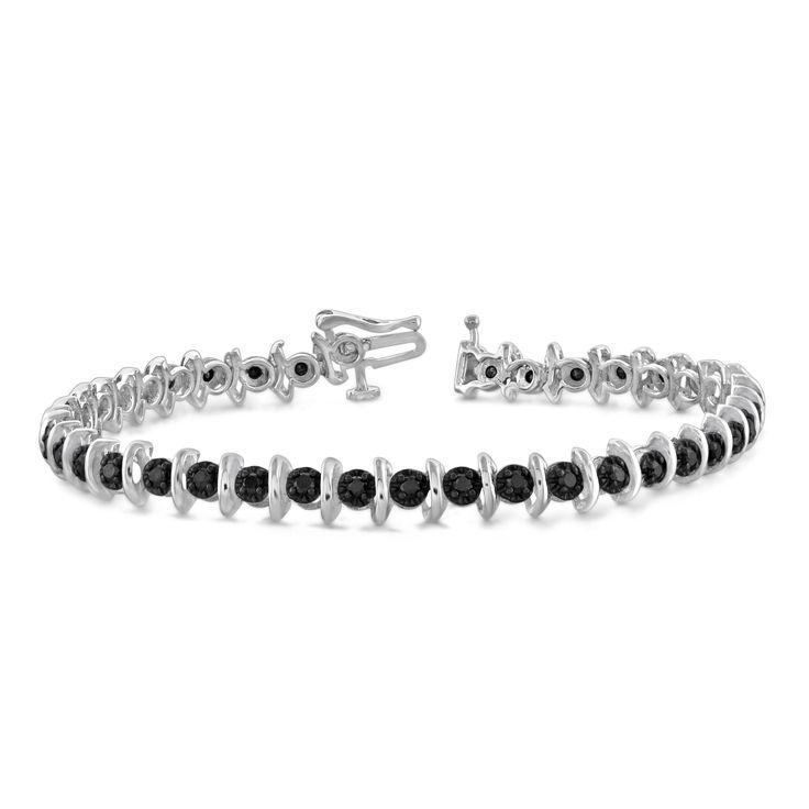 Jewelonfire Sterling Silver 2ct TDW Genuine Black Diamond Bracelet, Women's