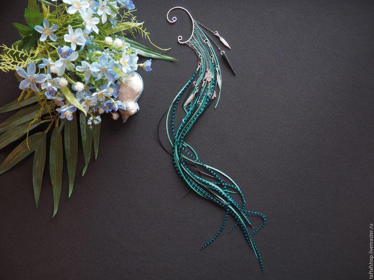 Полёт над морем - яркий кафф с длинными перьями и цепями в стиле бохо - перья