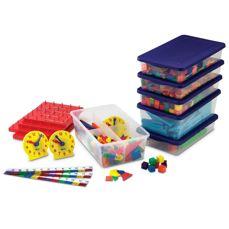 Learning Resources Grades 1-2 Manipulatives Kit for Hands-On Standards - All the manipulatives you need to complete the math activities in our Hands-On Standards book for grades 1-2! Components are conveniently packaged in sectioned storage tubs and include Base Ten Blocks, Two-Centimeter Color Cubes, Color Tiles, Two-Color Counters, Cuisenaire Rods, Geared Clocks, Inchworms & Inchworm Rulers, Pattern Blocks, Snap Cubes, Tangrams, Geoboards and Reversible Graph It! Mat.