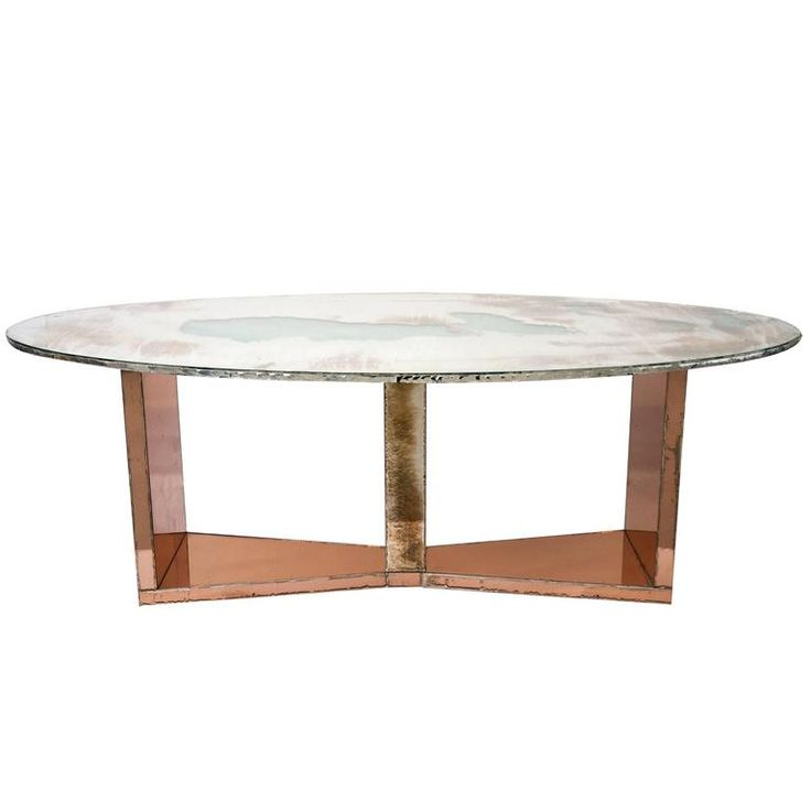 Butterfly Dining Table Wood Base Coated Silvered Glass And Silver Glass Top