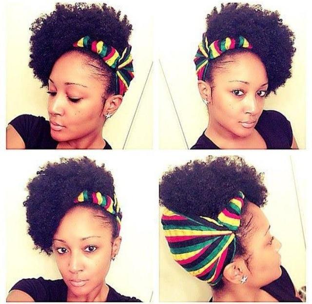 Red-Gold-Green: headband natural updo