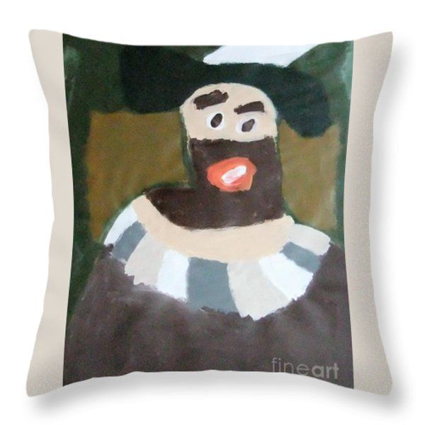 Throw Pillow featuring the painting Rembrandt 2014 - After Rembrandt Self-portrait by Patrick Francis