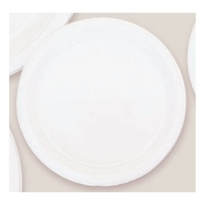 "Plastic White Dessert Plates. There are 20 Solid Colour Plastic 7"" Dessert plates per package. They come in 22 colours and are a great party accessory where you want to match a colour and you also want a plate that is stronger than paper."