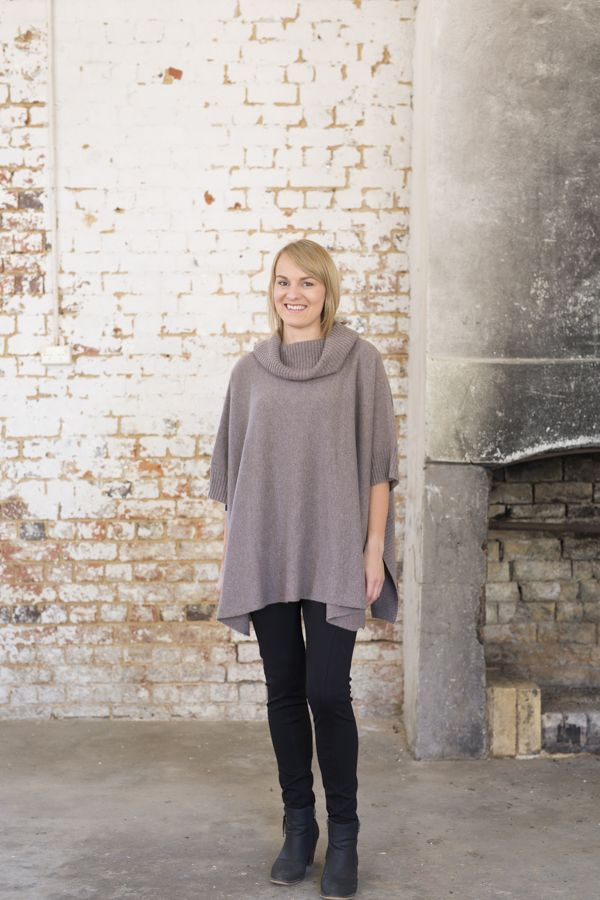 This Cashmere Poncho is a fabulous winter warmer – soft alpaca and cashmere A great addition to wear over winter dresses or jeans and simple shirt. Available in Graphite and Denim (Brown shown has sold out)
