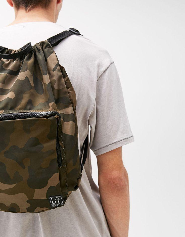 Camouflage drawstring backpack - null - Bershka United Kingdom