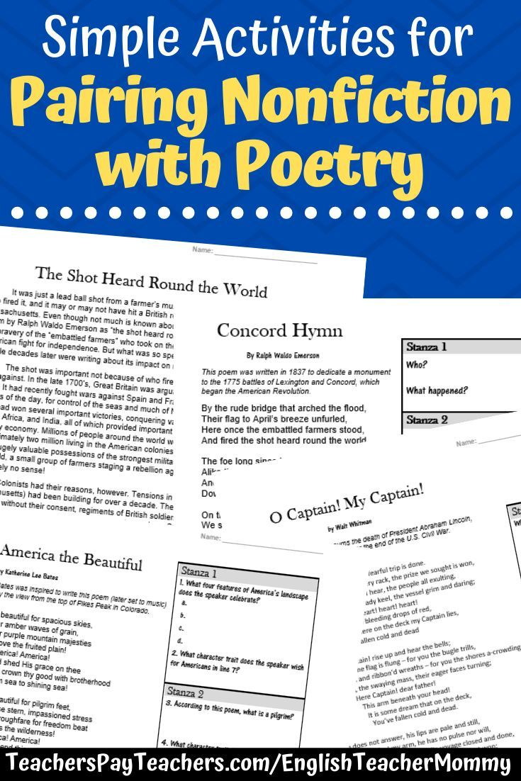 Poetry With Informational Text Paired Passages Printable Digital Poetry Middle School Paired Passages Middle School Reading Activities [ 1102 x 735 Pixel ]