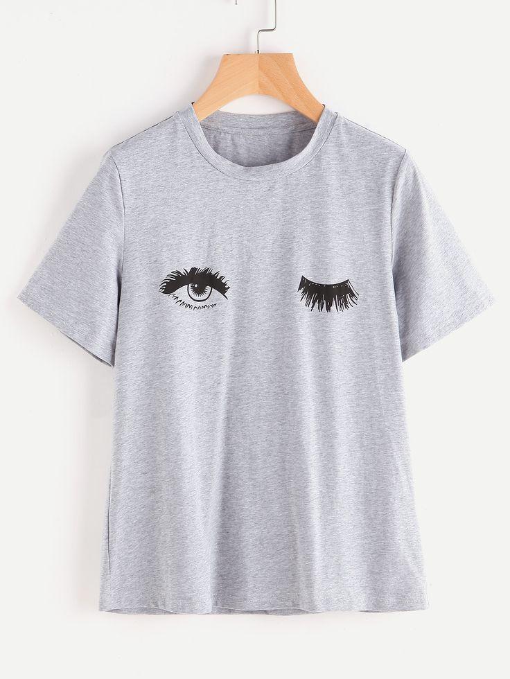 Wink Eyes Print Heathered Tee