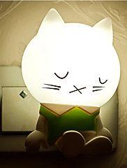 Sensore caldo creativo nero gatto assonnato luce relativo al sonno del bambino luce notturna