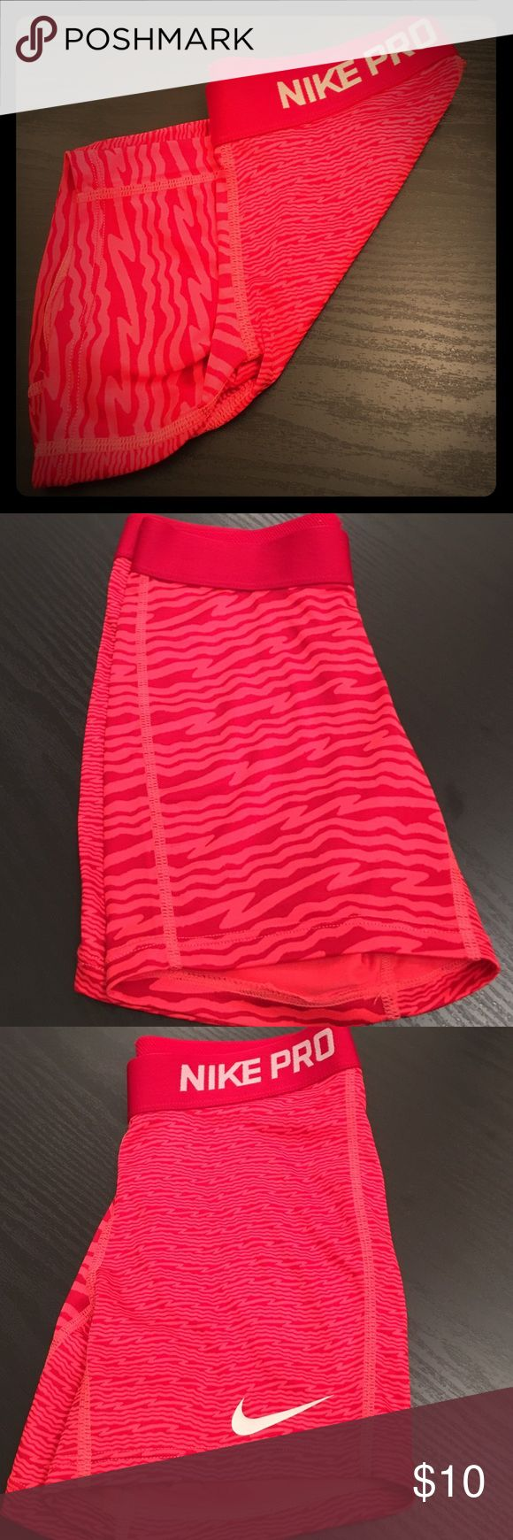 """Girls Nike Pro Shorts • Medium • Like New! Red and Coral Dri-Fit Compression Shorts • GIRLS MEDIUM • 4"""" Inseam • 10"""" Total Length • Silver Logo Accents • NEVER WORN! Nike Shorts"""