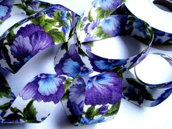 Pansy Flowers Cotton Ribbon Trim Multicolor by PrimroseLaceRibbon, $2.25