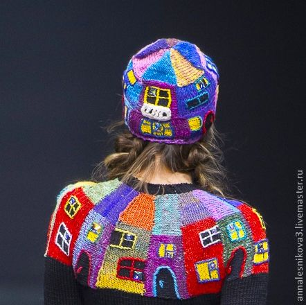 """Купить Шапочка """"дом Хундертвассера"""" - рисунок, Анна Лесникова, трикотаж от кутюр, трикотаж, головной убор"""