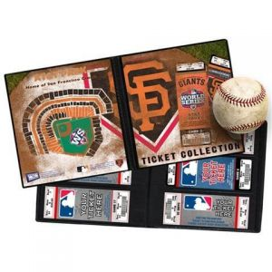 """2012 World Series Ticket Album - San Francisco Giants. A Ticket Album Is A Photo Album For Your Tickets And Allows You To Create A Table-Top Display That Will Keep The Memories of The Games You'Ve Attended As Fresh As The Day You Were There. Also Makes An Ideal Item To Present Tickets As A Gift. (Tickets Shown Not Included). Features: Officially Licensed By MLB®  32 Pages Hold 64 Tickets  Fits Tickets 3 3/8"""" X 7 5/8""""  Measures 8"""" Wide By 8"""" Tall Includes Seating Chart On Back  2012 World…"""