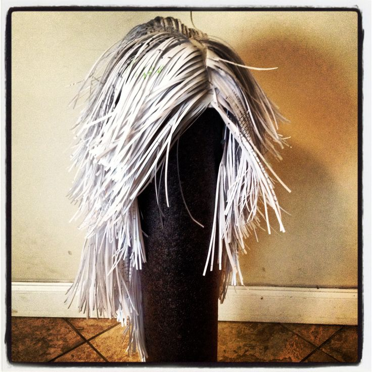 Paper wig made with a paper shredder.