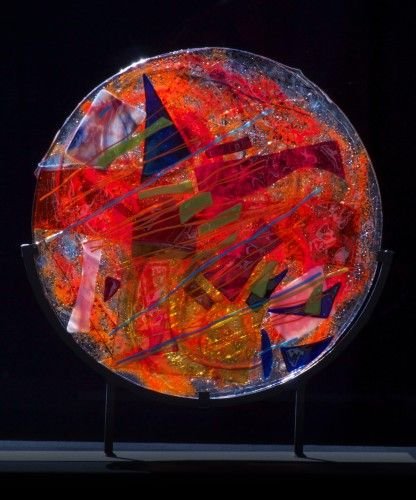 Orange Variations, Suzanne Wallace Mears, kiln-formed glass, $2800. #abstractart #glassart