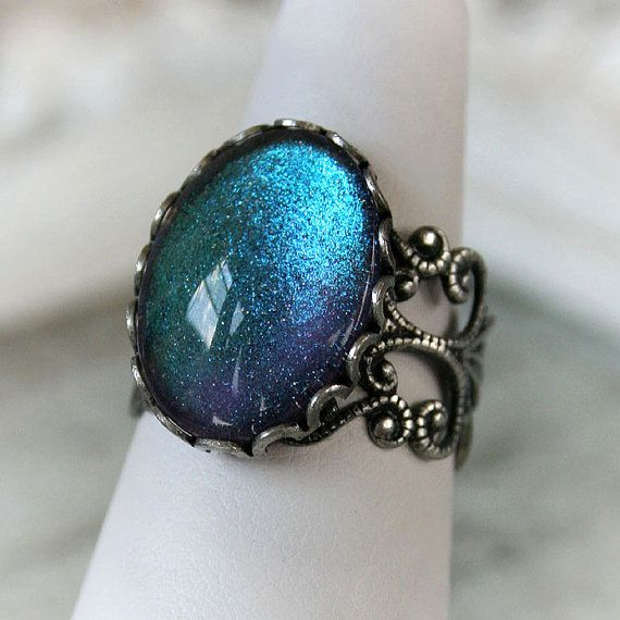 MERMAID TEARS Victorian cocktail ring with aged silver and hand painted indigo glass, free gift boxing