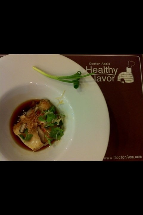 """""""Snow fish with Triplet thai herbal sauce"""", our signature dish of the way we combine Thai traditional medical remedies into food yet edible and enjoyable."""
