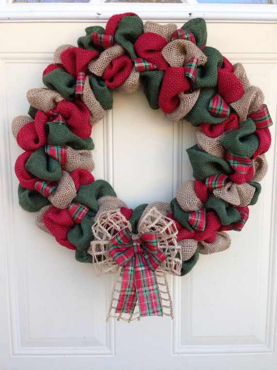 Christmas Burlap Wreath on Etsy, $40.00 - give me the supplies and i will make it...love it