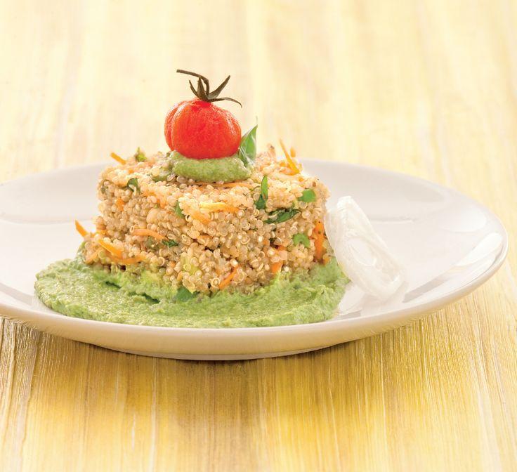 Tortino di quinoa al pesto di fagiolini Ricetta di Antonio Scaccio Foto di Laila Pozzo Ricetta tratta dalla rivista Cucina Naturale