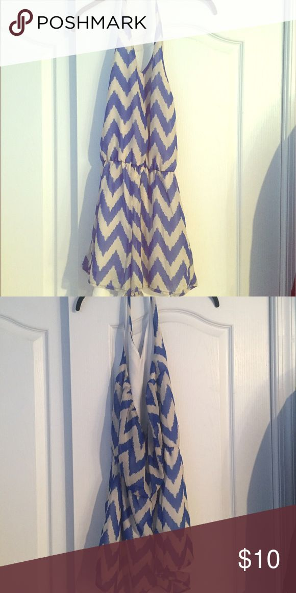 Romper Never worn charlotte ruse romper! Blue and white pattern with open back! Other